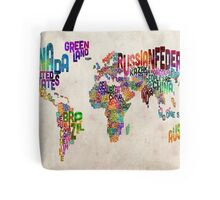 Typography Text Map of the World Map Tote Bag
