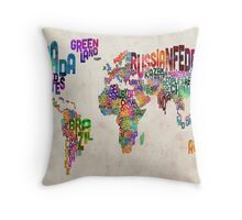 Typography Text Map of the World Map Throw Pillow