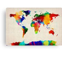 Map of the World Map Painting Canvas Print