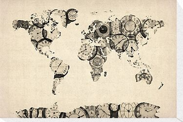 Map of the World Map from Old Clocks by ArtPrints