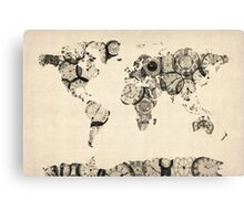 Map of the World Map from Old Clocks Canvas Print