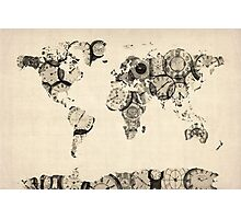 Map of the World Map from Old Clocks Photographic Print