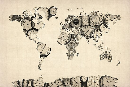 Map of the World Map from Old Clocks by Michael Tompsett