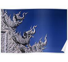 Three Naga heads, Wat Rung Khun Temple, Chiang Rai province, Thailand. Poster
