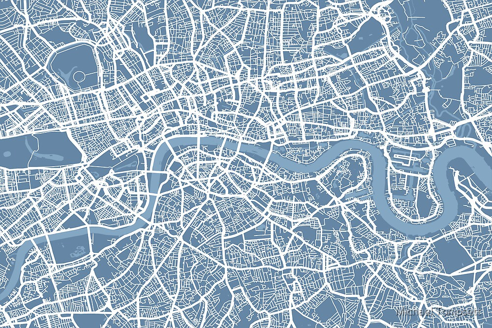 London Map Art Steel Blue by Michael Tompsett