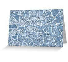 London Map Art Steel Blue Greeting Card