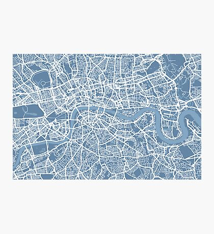 London Map Art Steel Blue Photographic Print