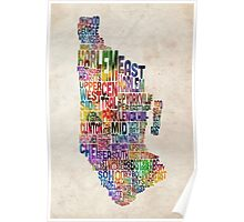 Manhattan New York Typographic Map Poster