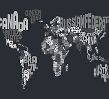 Typograhpy Text Map of the World by ArtPrints