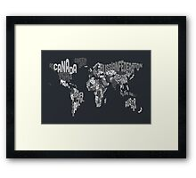 Typograhpy Text Map of the World Framed Print