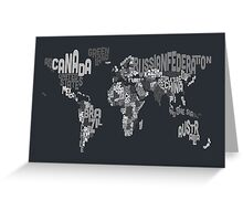 Typograhpy Text Map of the World Greeting Card