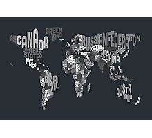 Typograhpy Text Map of the World Photographic Print