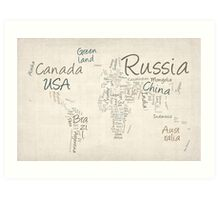 Writing Text Map of the World Map Art Print