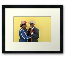 Cuban man and Daughter posing with their cigars and cane. Framed Print