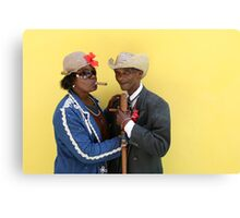 Cuban man and Daughter posing with their cigars and cane. Canvas Print