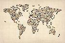 Cats Map of the World Map by Michael Tompsett