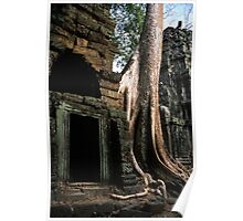 Ta Prohm tree roots and door. Poster