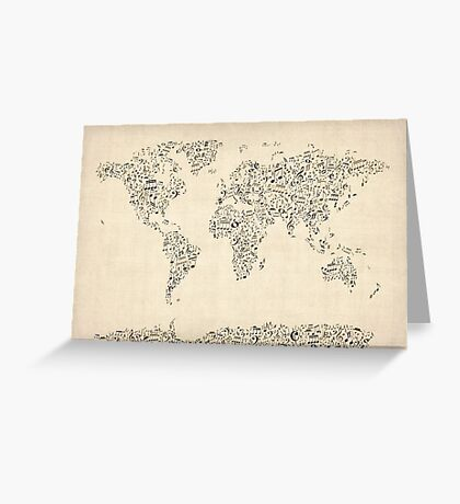 Music Notes Map of the World Greeting Card