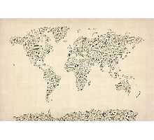 Music Notes Map of the World Photographic Print