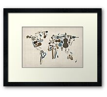 Musical Instruments Map of the World Framed Print