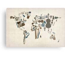 Musical Instruments Map of the World Metal Print