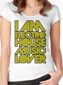 I AM ELECTRO HOUSE MUSIC LOVER (YELLOW) Women's Fitted Scoop T-Shirt
