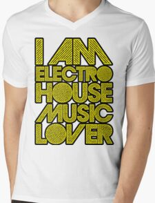 I AM ELECTRO HOUSE MUSIC LOVER (YELLOW) Mens V-Neck T-Shirt