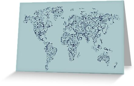 Map of the World Map Floral Swirls by ArtPrints