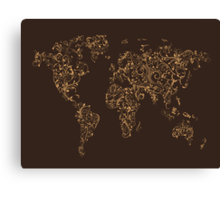 Map of the World Map Floral Swirls Canvas Print