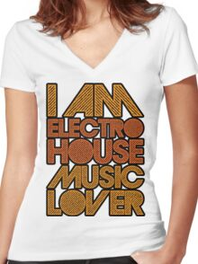 I AM ELECTRO HOUSE MUSIC LOVER (ORANGE) Women's Fitted V-Neck T-Shirt