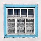 Karakul window - sellotape, tinsel and a lace curtain by Marjolein Katsma
