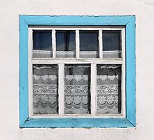 Karakul window - sellotape, tinsel and a lace curtain by Marjolein Katsma