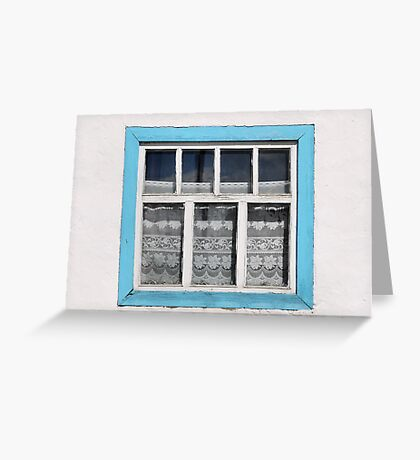 Karakul window - sellotape, tinsel and a lace curtain Greeting Card