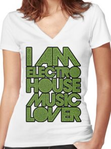I AM ELECTRO HOUSE MUSIC LOVER (NEON GREEN) Women's Fitted V-Neck T-Shirt