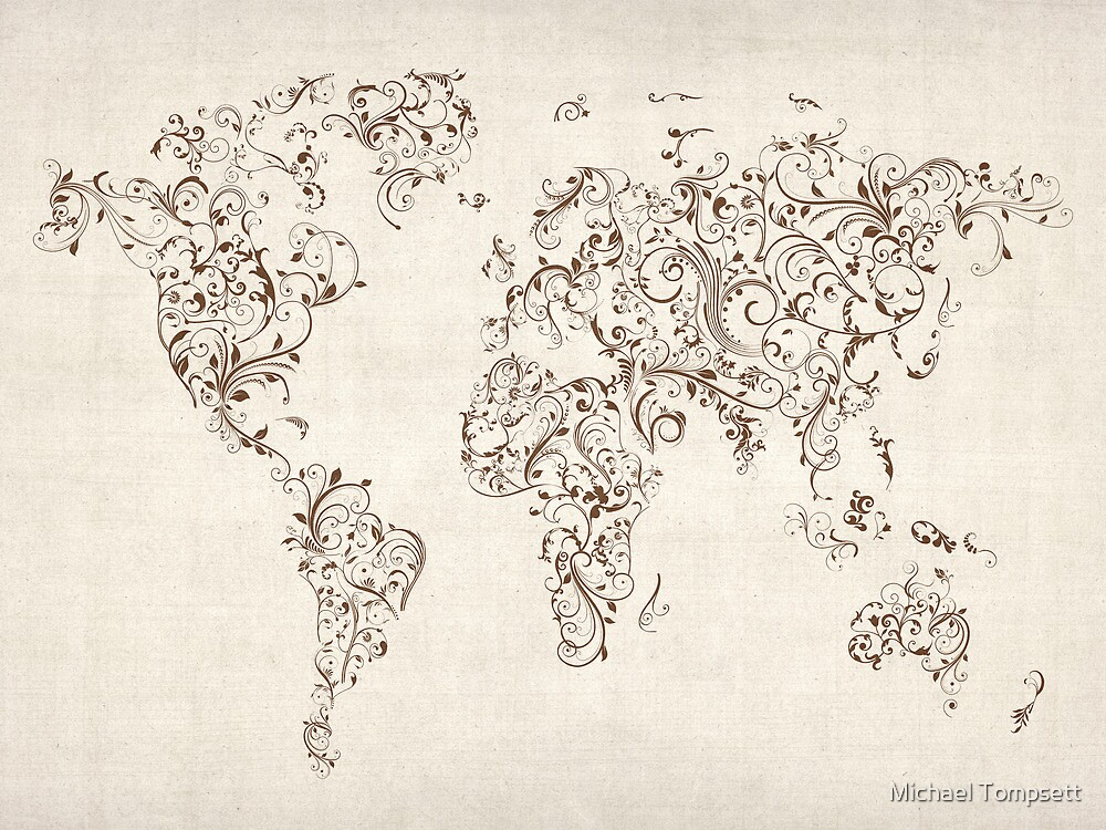 Map of the World Map Floral Swirls by Michael Tompsett