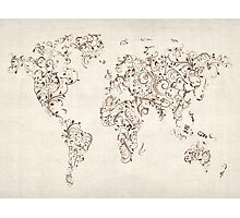 Map of the World Map Floral Swirls Photographic Print
