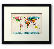 World Map Watercolors Framed Print