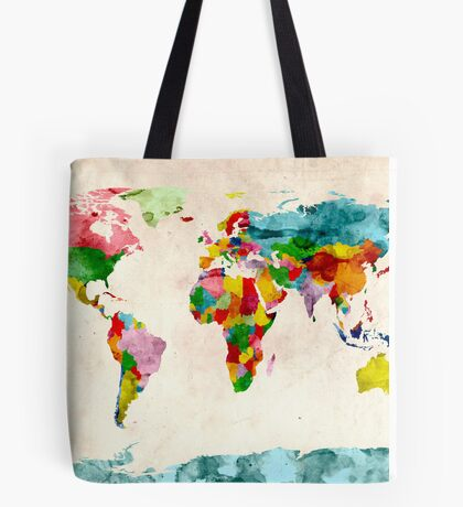 World Map Watercolors Tote Bag