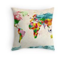 World Map Watercolors Throw Pillow
