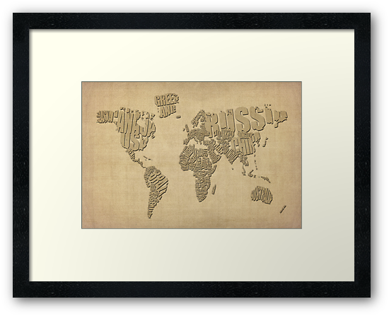 Typographic Text Map of the World by ArtPrints
