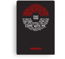 Pokemon Typography Canvas Print