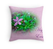 Happy Easter Deptford Pink Wildflower Throw Pillow