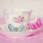 Vintage Teacup and Butterflies by AnnaBaria