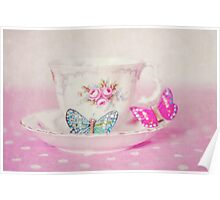 Vintage Teacup and Butterflies Poster