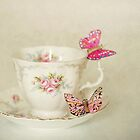 White Vintage Teacup and Butterflies by AnnaBaria