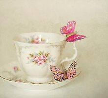 White Vintage Teacup and Butterflies by Anna Davies