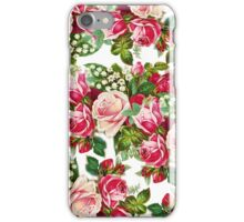Chic vintage red pink roses flowers pattern iPhone Case/Skin