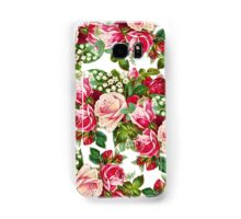 Chic vintage red pink roses flowers pattern Samsung Galaxy Case/Skin