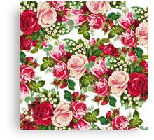 Chic vintage red pink roses flowers pattern Canvas Print
