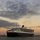 Queen Mary 2 and Westgate Bridge by Russell Charters